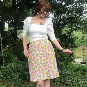 Vintage 70s Lilly Pulitzer Floral A-Line Skirt